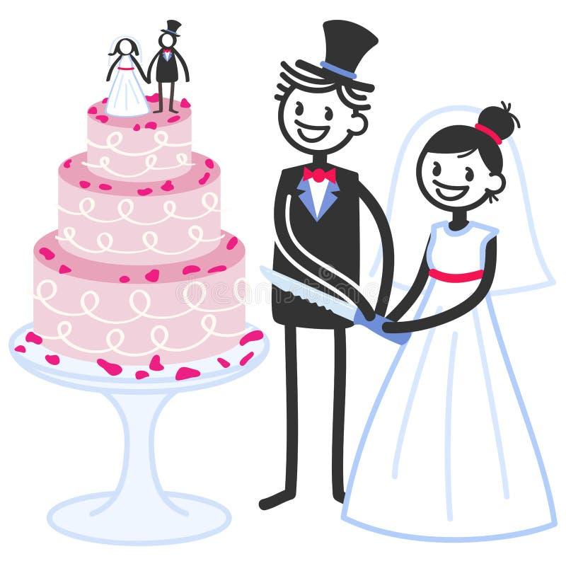 Vector a ilustração de figuras bonitos bolo da vara de casamento nupcial do corte dos pares ilustração royalty free