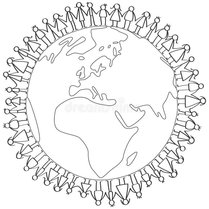 Vector a ilustração de figuras crianças da vara que estão em torno do globo da terra que guarda as mãos que colorem a página ilustração royalty free