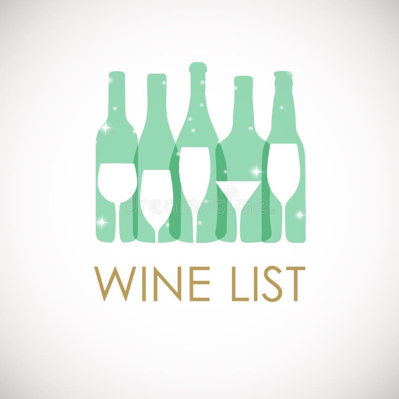 Vector a ilustração de garrafas e de vidros de vinho nas cores pastel Molde do projeto da carta de vinhos Cartão do Natal ou do v ilustração royalty free