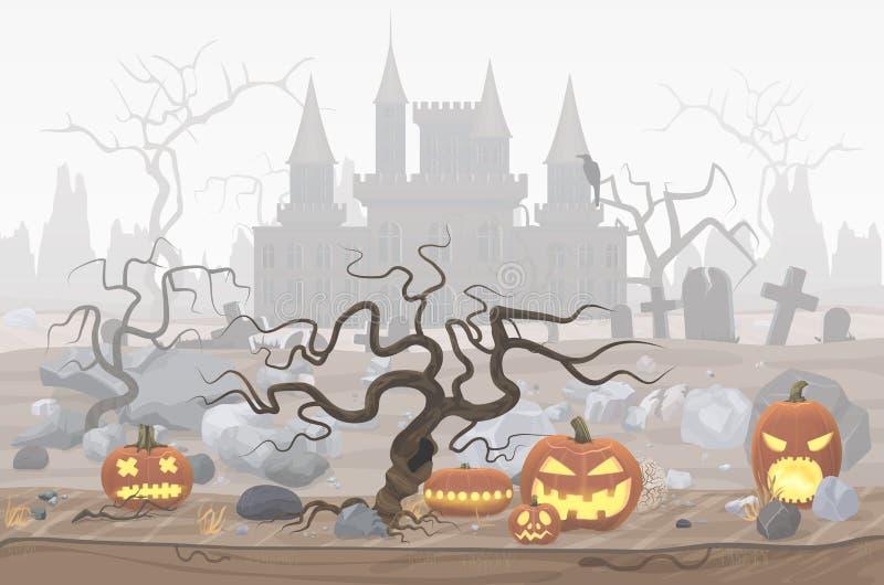 Vector a ilustração de lanternas da abóbora para Dia das Bruxas e o castelo nevoento do cemitério e do horror ilustração royalty free