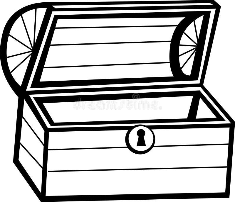 Vector a ilustração de madeira da caixa de tesouro ilustração stock