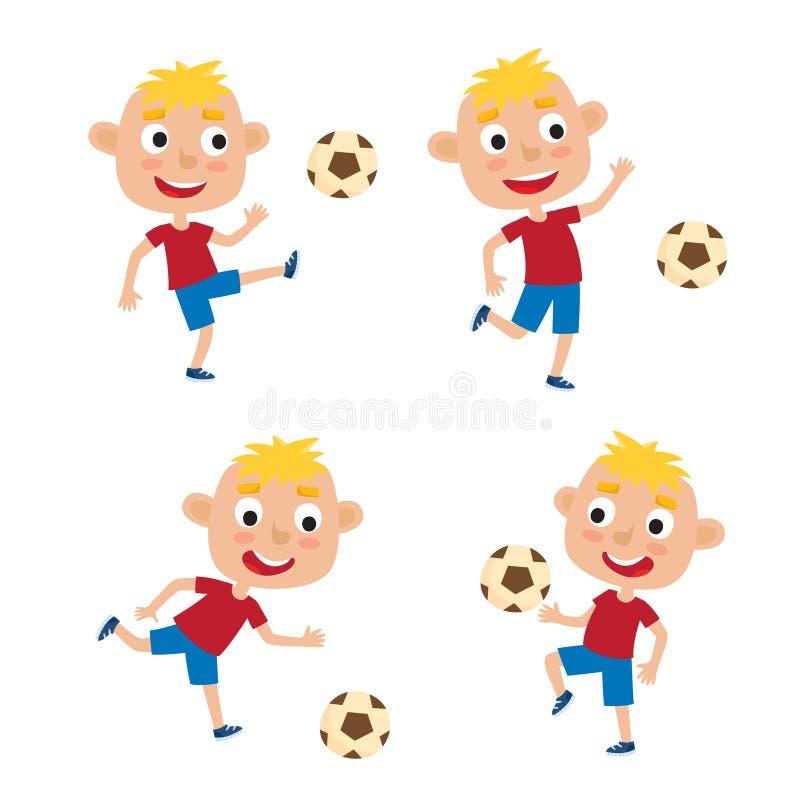 Vector a ilustração de meninos louros pequenos na camisa e curto ilustração stock