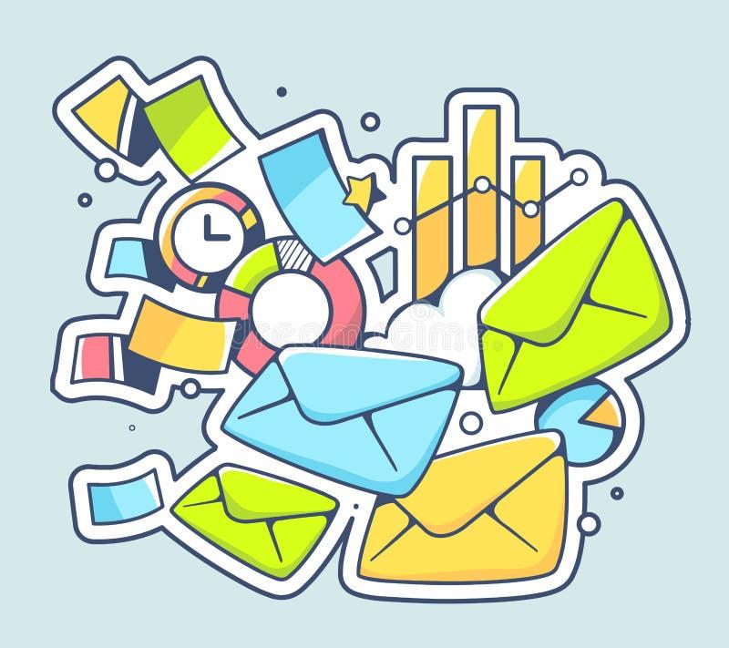 Vector a ilustração de muitos envelopes e originais financeiros sobre ilustração do vetor