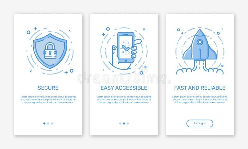 Vector a ilustração de onboarding telas do app e equipe de projeto do conceito da Web para apps móveis na linha estilo lisa ilustração do vetor