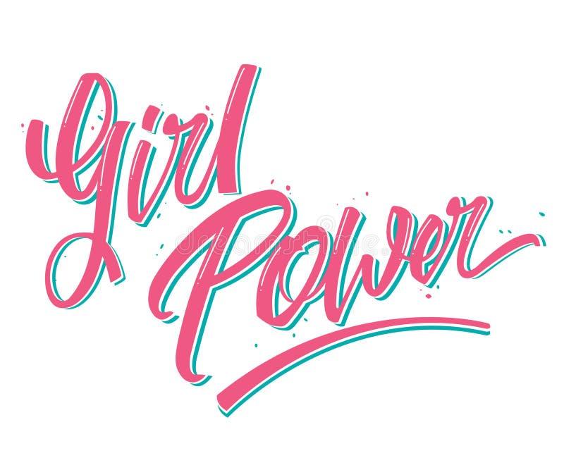 Vector a ilustração de palavras do poder da menina escritas à mão com a rotulação da tinta isolada no branco ilustração royalty free
