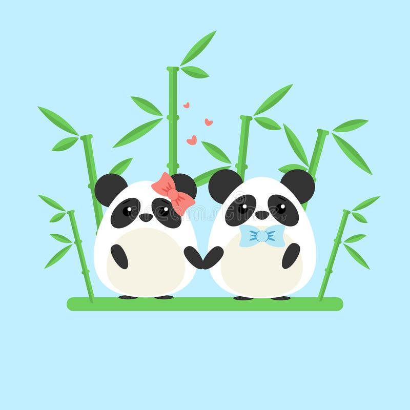 Vector a ilustração de pares da panda no amor com o bambu ornamentado isolado no fundo azul ilustração do vetor
