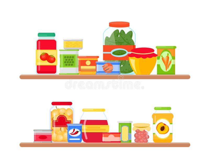 Vector a ilustração de prateleiras de mercearia completamente de mantimentos coloridos e brilhantes no estilo liso ilustração stock