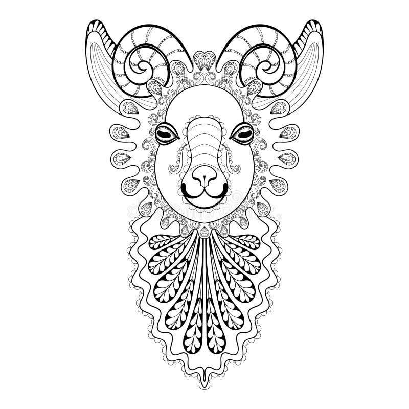 Vector a ilustração de Ram Head do zentangle, cópia da cabra para o adulto ilustração royalty free