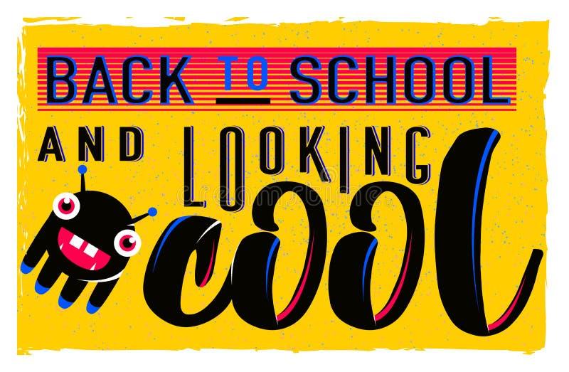 Vector a ilustração de retro de volta ao cartão da escola com elemento da tipografia no fundo brilhante, efeito do grunge ilustração do vetor