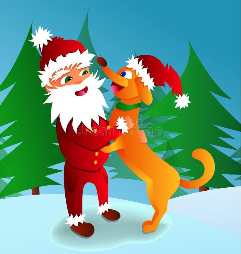 Vector a ilustração de Santa Claus com um símbolo do cão de 2018 foto de stock