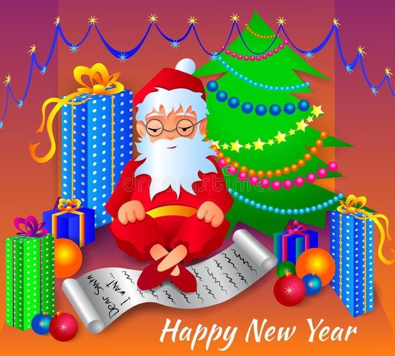 Vector a ilustração de Santa Claus com uma lista de ordens e de presentes foto de stock