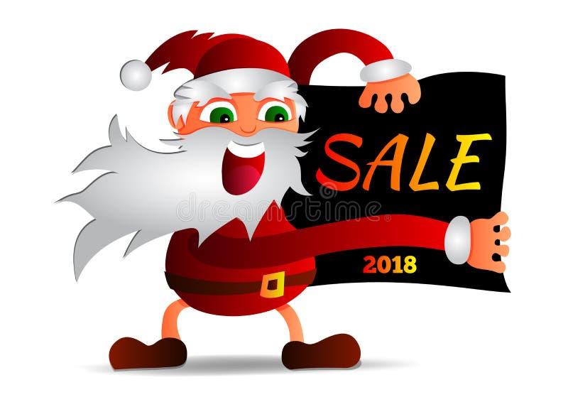 Vector a ilustração de Santa Claus que guarda um cartaz com um disconto da inscrição imagens de stock royalty free
