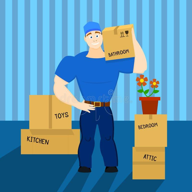 Vector a ilustração de um carregador movente do indivíduo do serviço, porteiro, heaver imagens de stock