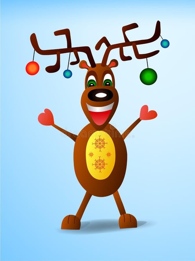 Vector a ilustração de um cervo do Natal para os feriados do ano novo foto de stock royalty free