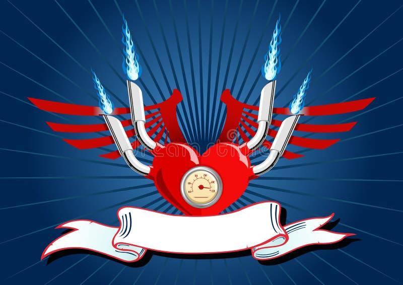 Vector a ilustração de um coração com as asas no azul ilustração do vetor