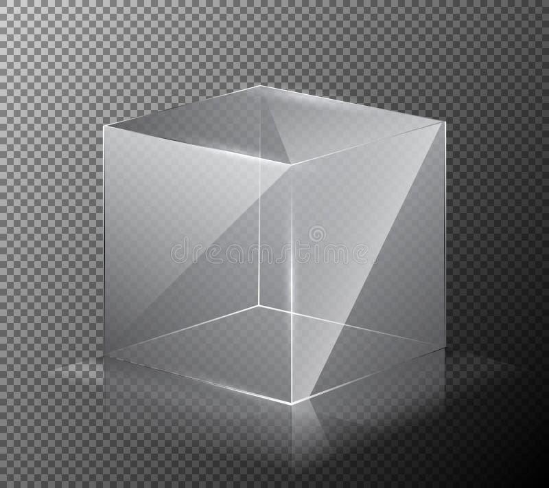 Vector a ilustração de um cubo realístico, transparente, de vidro em um fundo cinzento ilustração do vetor