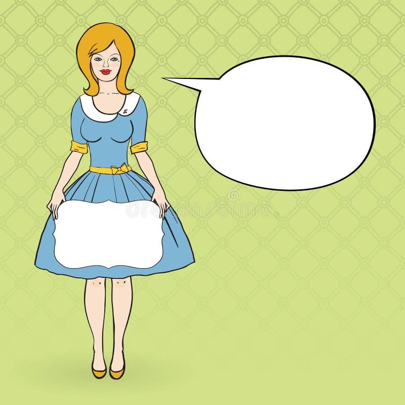 Vector a ilustração de um dressd da mulher como os anos 50 ilustração royalty free