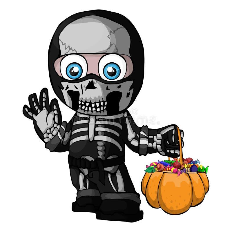 Vector a ilustração de um esqueleto, um menino em um terno, um traje do Dia das Bruxas, uma criança Truque ou deleite ilustração royalty free