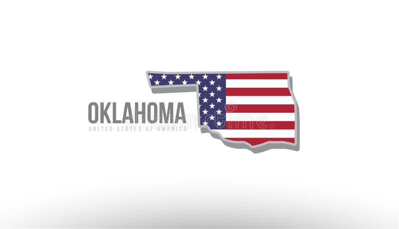 Vector a ilustração de um estado do condado com a bandeira dos E.U. Estados Unidos ilustração do vetor