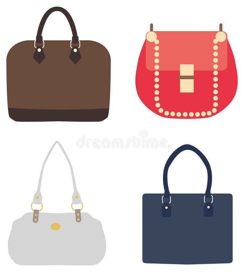 Vector a ilustração de um grupo de bolsas das senhoras ilustração stock