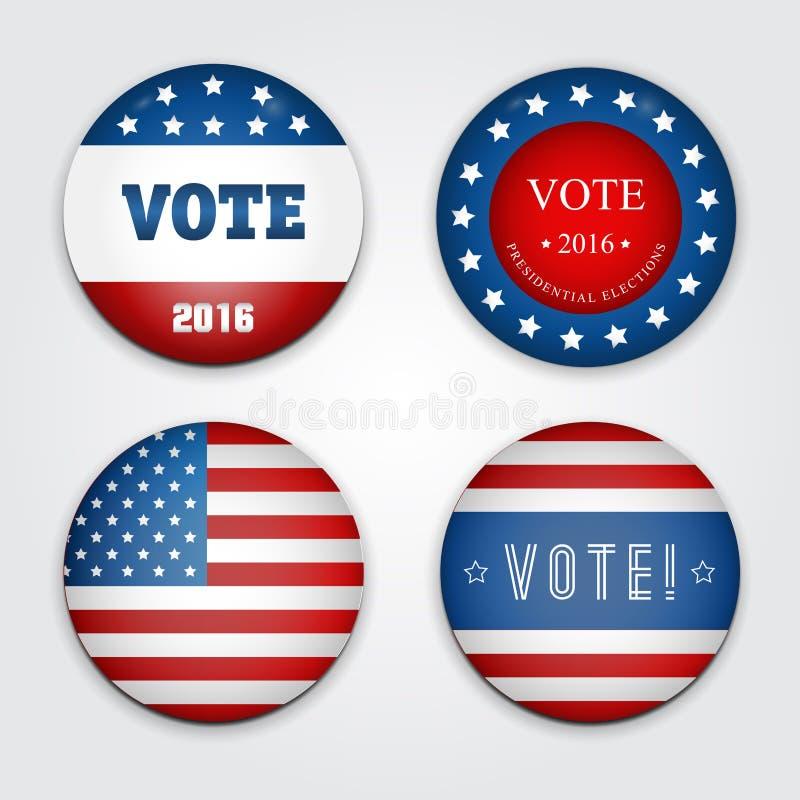 Vector a ilustração de um grupo de quatro 2016 botões da eleição ilustração royalty free