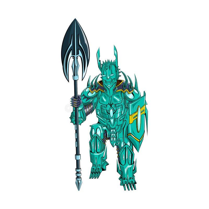 Vector a ilustração de um guerreiro com uma arma e um protetor na armadura do metal imagem de stock