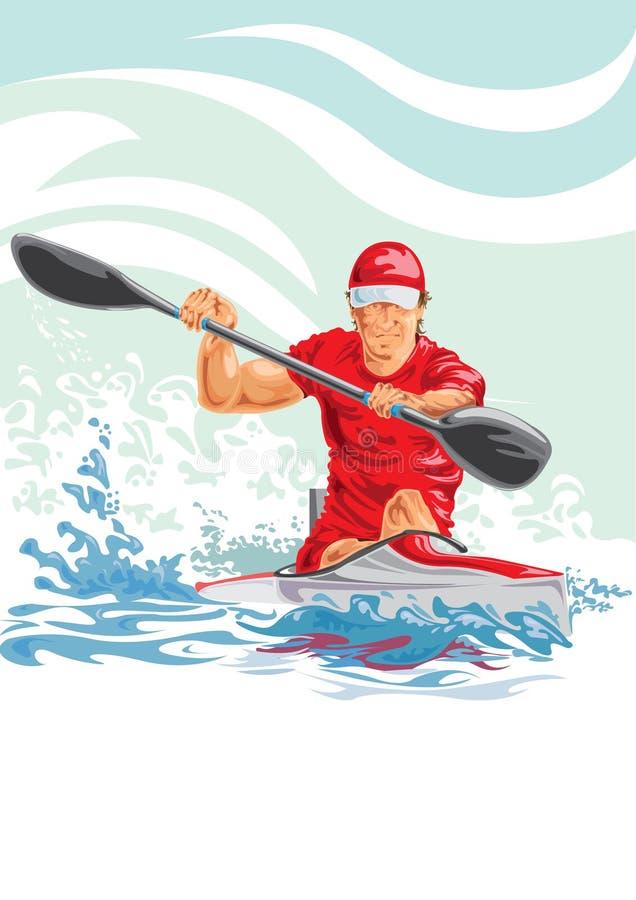 Vector a ilustração de um homem em um caiaque foto de stock royalty free