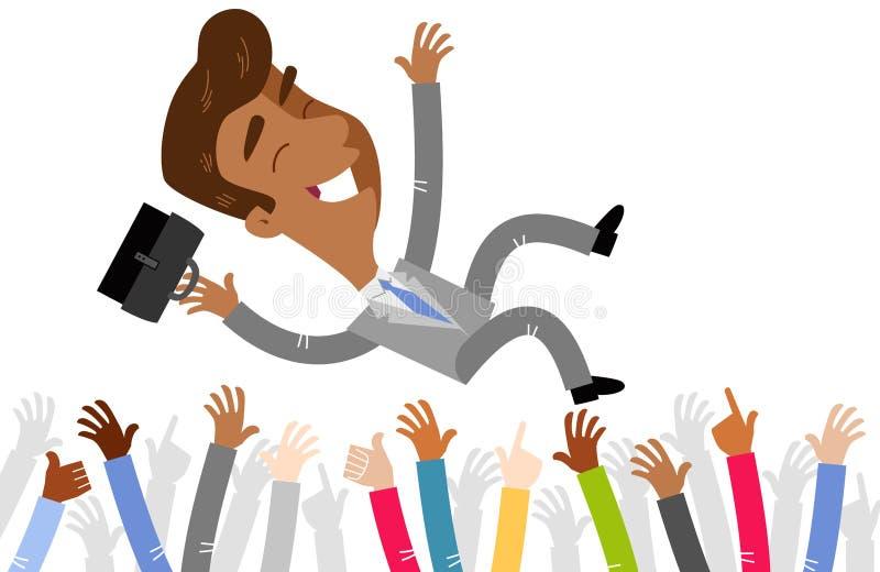 Vector a ilustração de um homem de negócios asiático dos desenhos animados comemorado pela multidão que está sendo jogada no ar ilustração stock