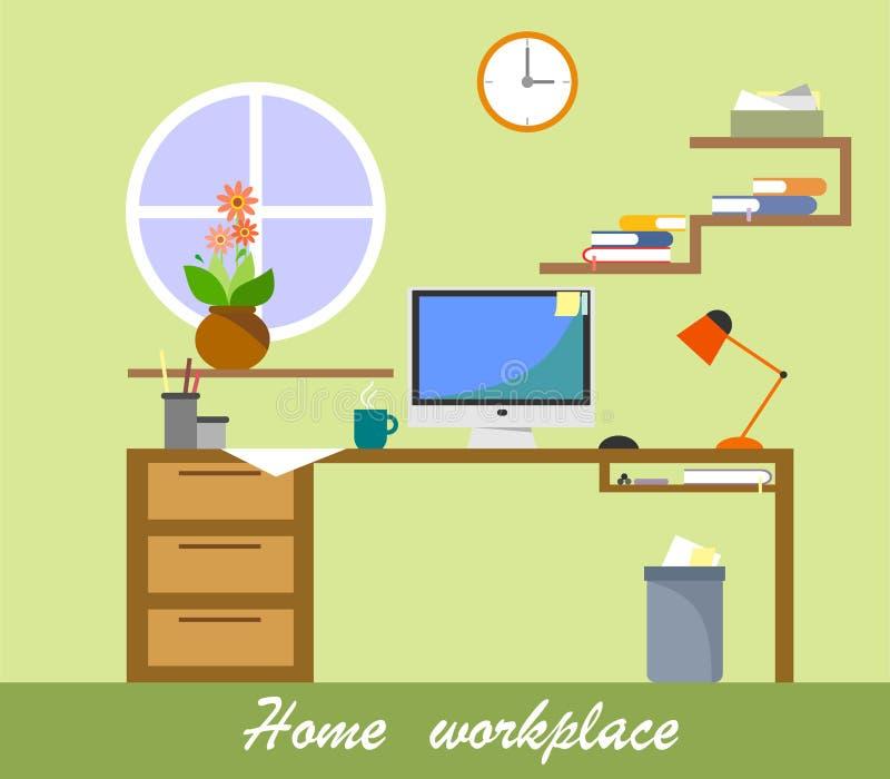 Vector a ilustração de um local de trabalho home no projeto liso ilustração do vetor