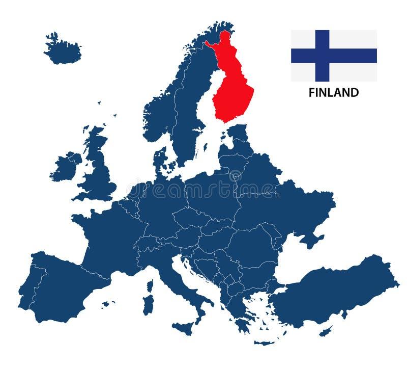 Vector a ilustração de um mapa de Europa com Finlandia destacado ilustração royalty free