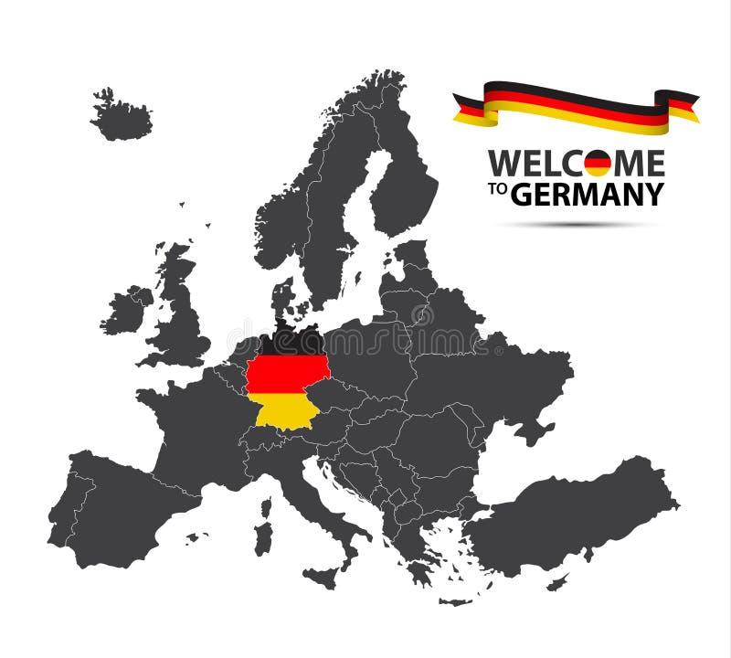 Vector a ilustração de um mapa de Europa com o estado de Alemanha ilustração do vetor