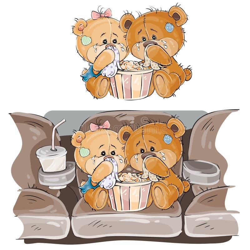 Vector a ilustração de um par ursos de peluche marrons que sentam-se no salão do cinema e que olham um filme ilustração do vetor