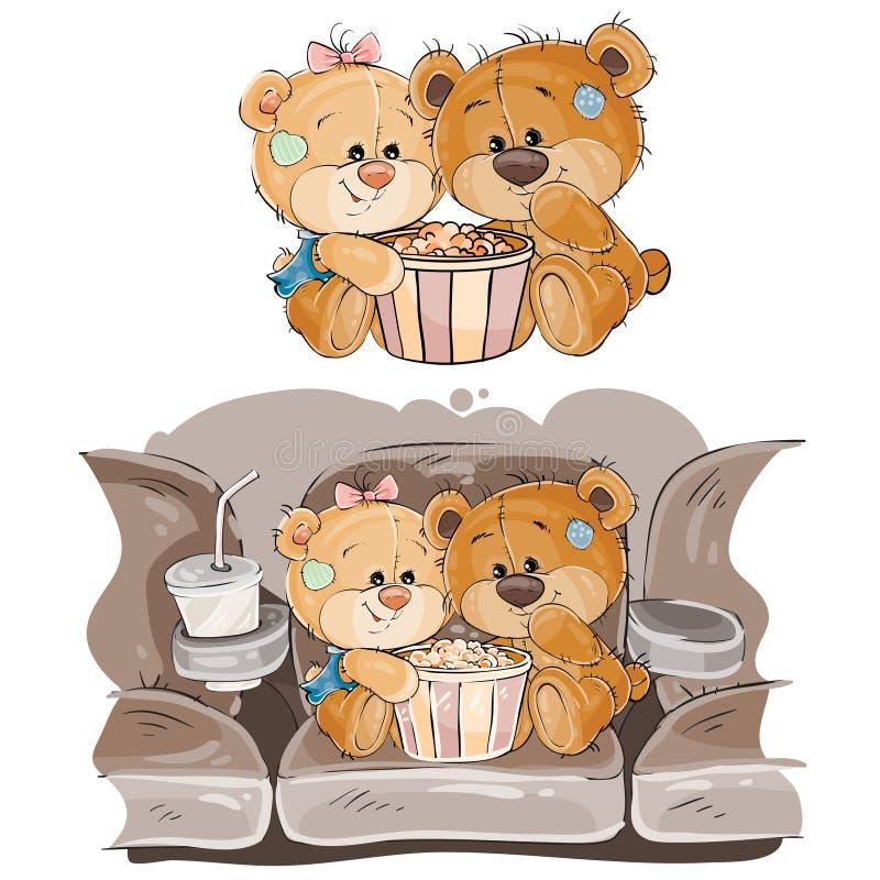 Vector a ilustração de um par ursos de peluche marrons que sentam-se no salão do cinema e que olham um filme ilustração stock