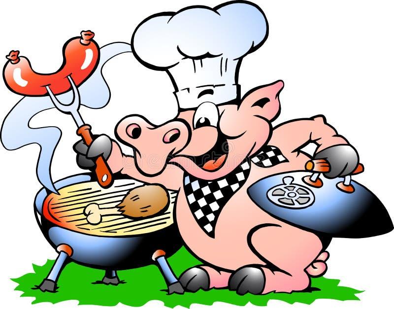 Vector a ilustração de um porco do cozinheiro chefe que está e que faz o BBQ ilustração stock