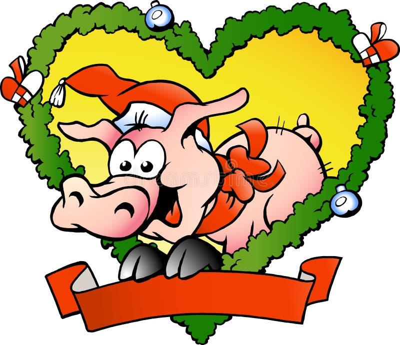 Vector a ilustração de um porco gordo feliz do Natal ilustração do vetor