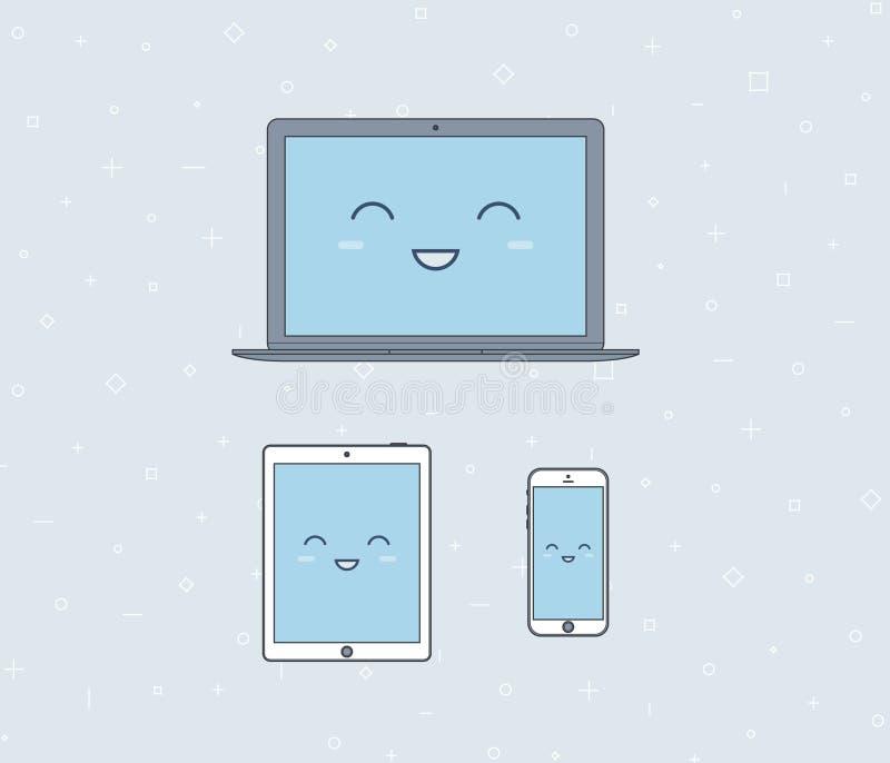 Vector a ilustração de um portátil, tabuleta e imagens de stock