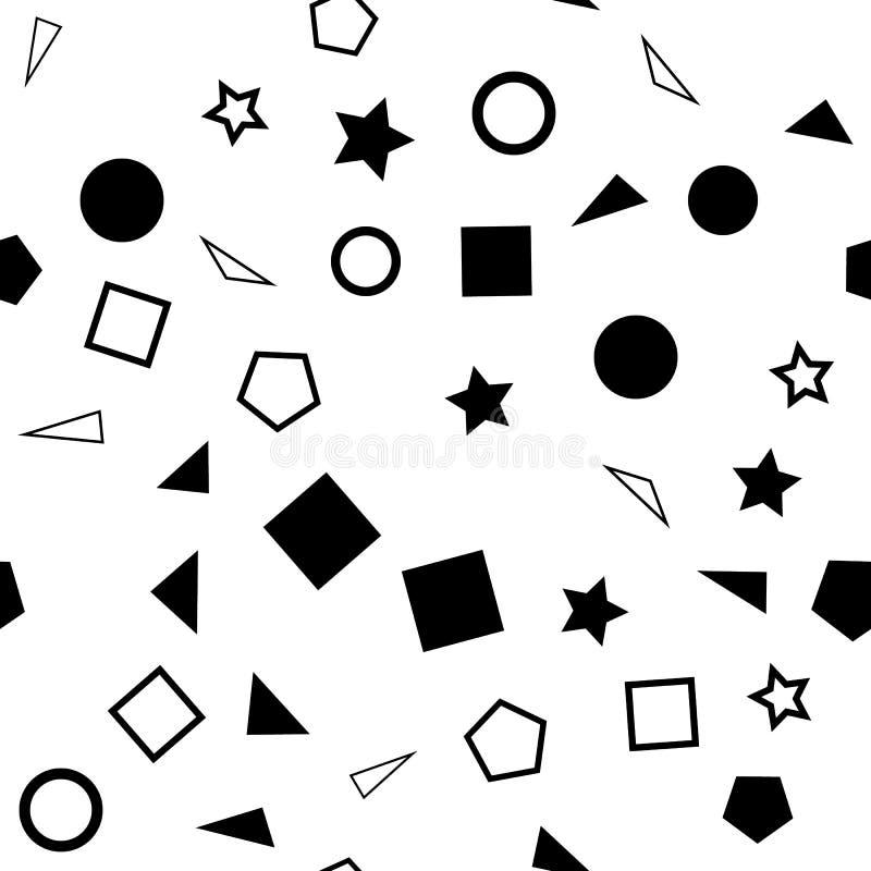 Vector a ilustração de um teste padrão sem emenda das formas simples preto e branco - quadrados, triângulos, círculos e estrelas  ilustração stock