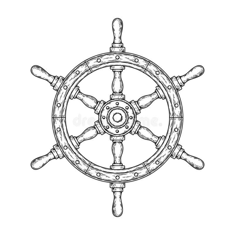 Vector a ilustração de um volante de madeira náutico velho ilustração do vetor