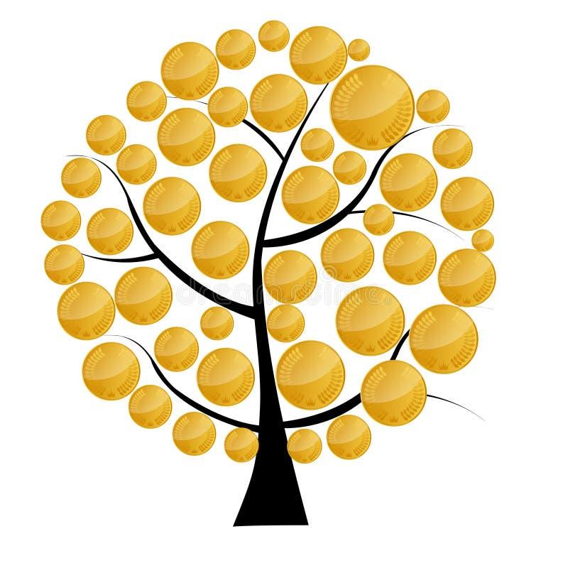 Vector a ilustração de uma árvore do dinheiro com moedas. ilustração do vetor
