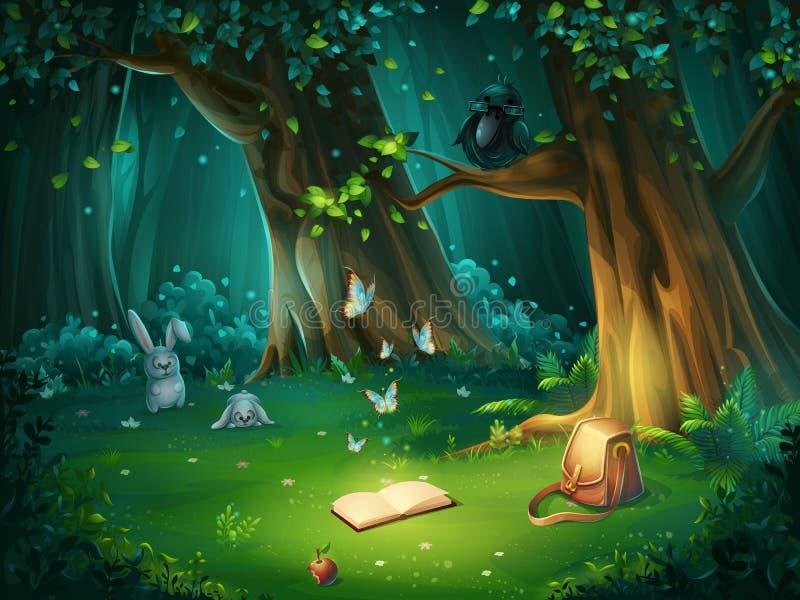Vector a ilustração de uma clareira da floresta com corvo e livro ilustração stock