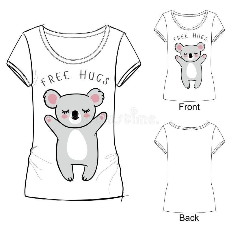 Vector a ilustração de uma coala do sono com os olhos fechados para a camisa de t Animal de Austrália Livre hugs ilustração stock