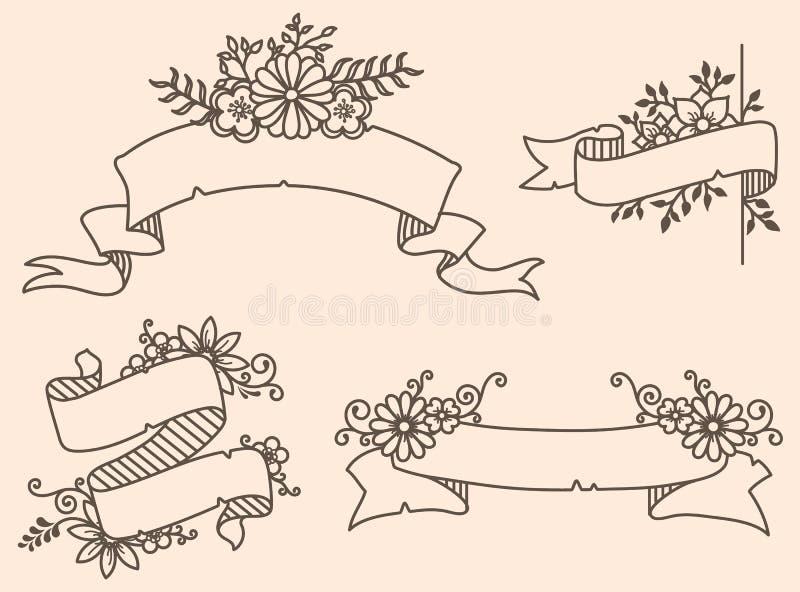 Vector a ilustração de uma coleção de fitas florais ilustração stock