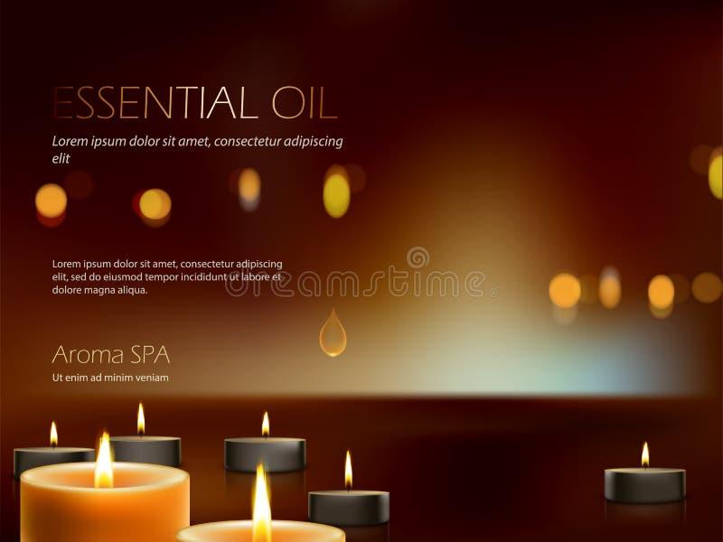 Vector a ilustração de uma composição realística para a terapia dos termas do aroma, abrandamento, meditação de velas ardentes ilustração do vetor