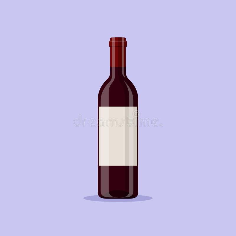 Vector a ilustração de uma garrafa de vinho tinto isolada no fundo azul Bebida alcoólica no estilo liso dos desenhos animados ilustração stock