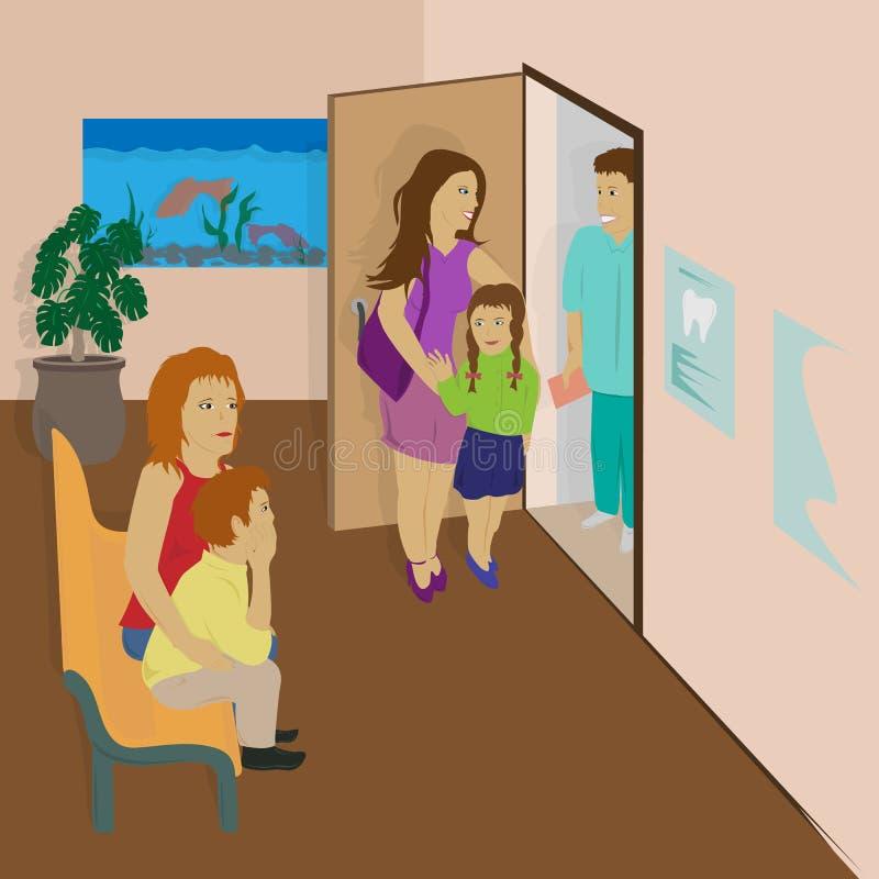 Vector a ilustração de uma mãe e de uma filha do hospital que saem do escritório do ` s do doutor A mamã e o filho estão esperand fotos de stock royalty free