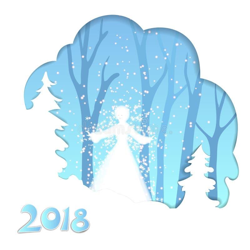 Vector a ilustração de uma menina da neve na floresta do inverno ilustração do vetor