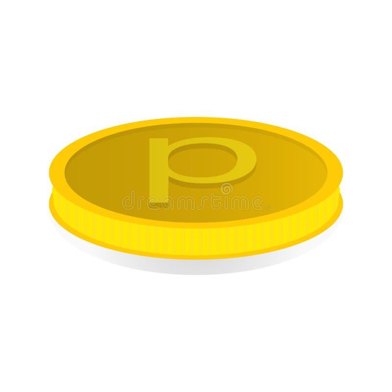Vector a ilustração de uma moeda de ouro com o símbolo da moeda de um centavo ilustração royalty free