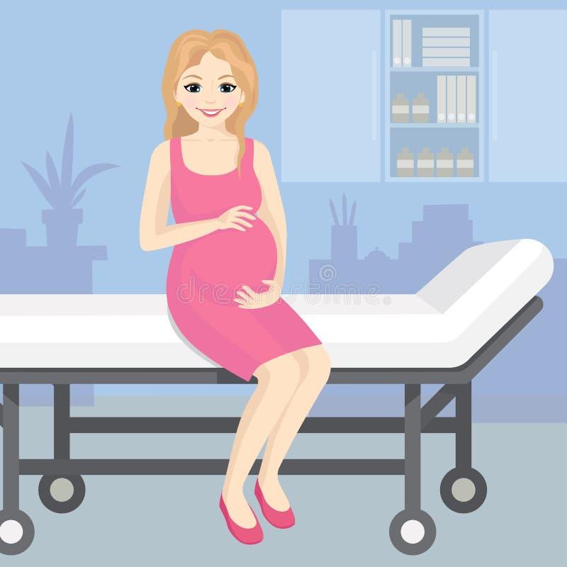 Vector a ilustração de uma mulher gravida feliz que senta-se em um trole do hospital Mulher bonita nova grávida de sorriso dentro ilustração stock