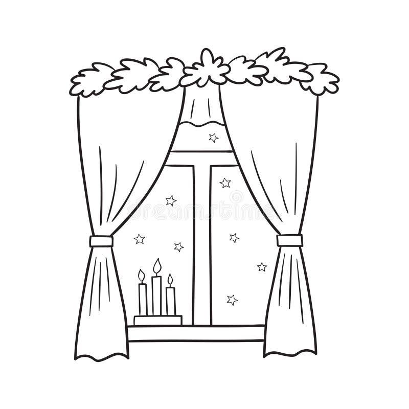 Vector a ilustração de uma opinião da janela do Natal com estrelas ilustração stock