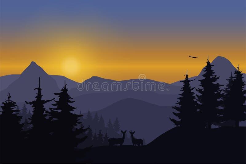 Vector a ilustração de uma paisagem da montanha com cervos em uma floresta sob o céu ilustração do vetor